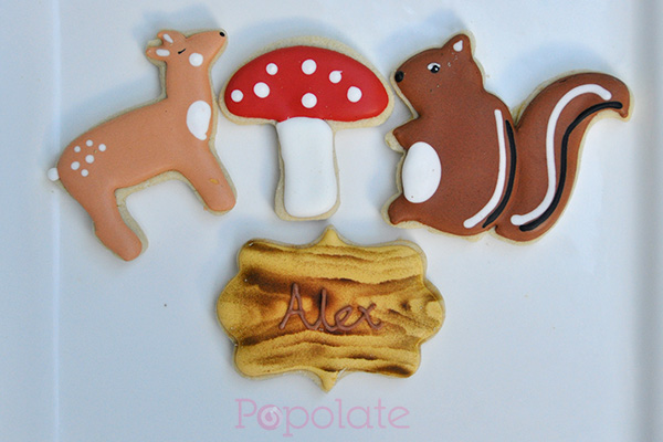 Woodland forest themed cookies