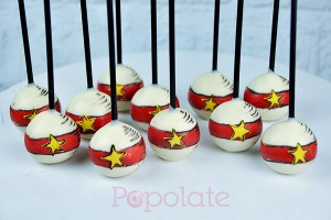 Dr Seuss Cat in the Hat Ball cake pops