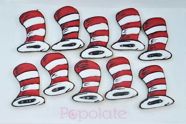 Dr Seuss Cat in the Hat cookies