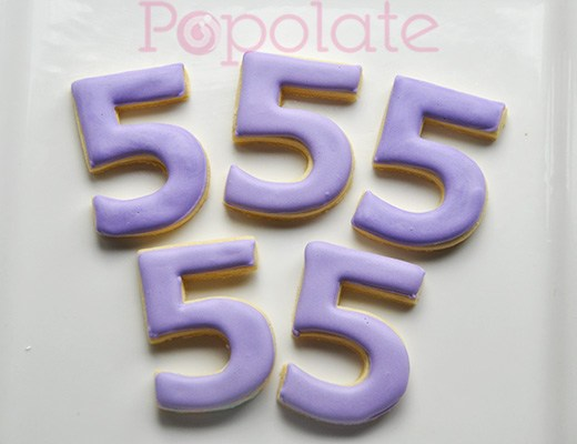 Number 5 lilac cookies birthday