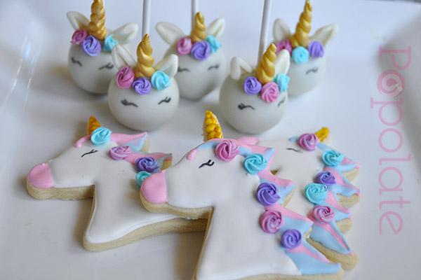 Unicorn cake and cookies