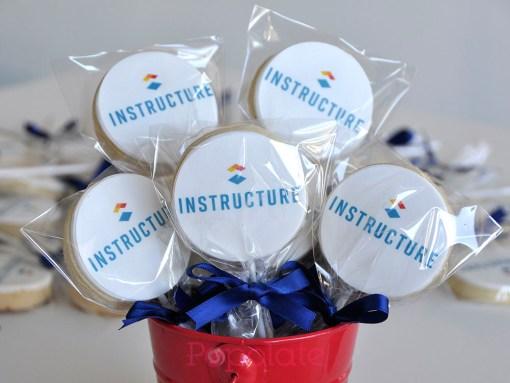 Corporate logo cookie pops