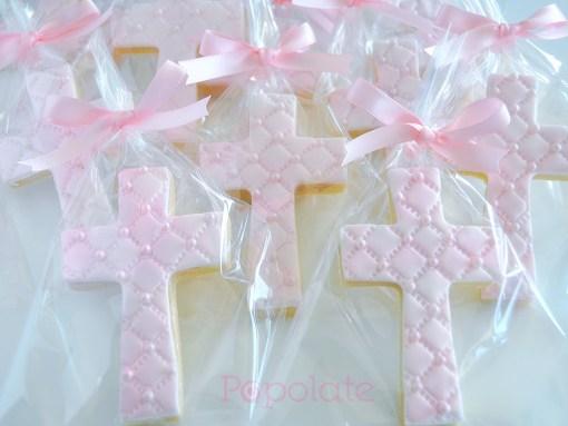 Pearl pink cross cookie