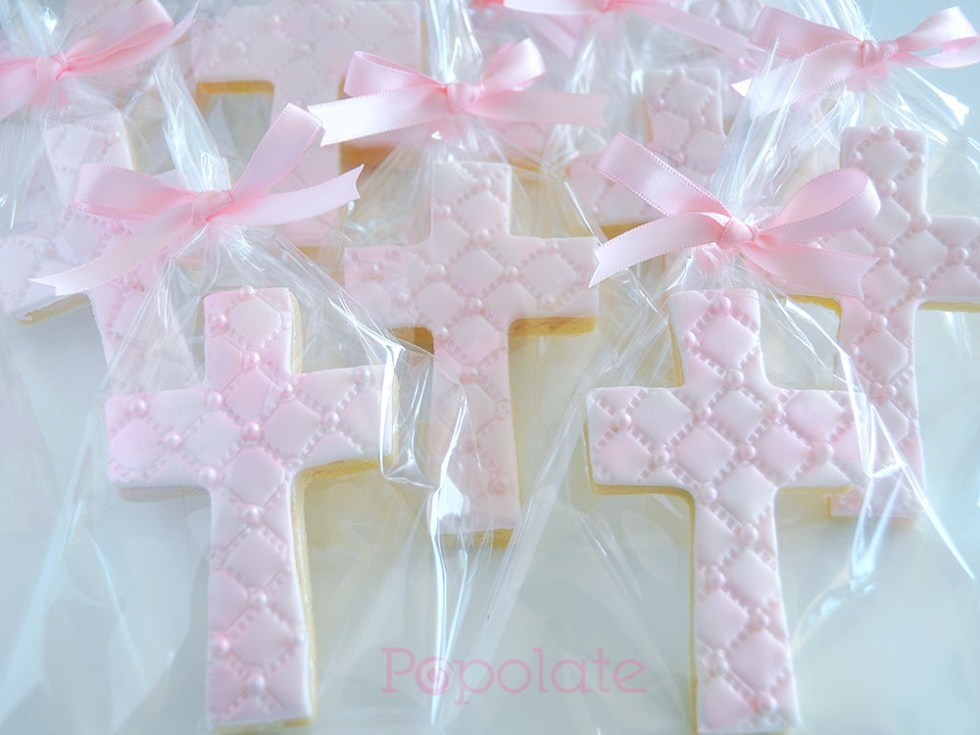 Pearl pink cross cookie