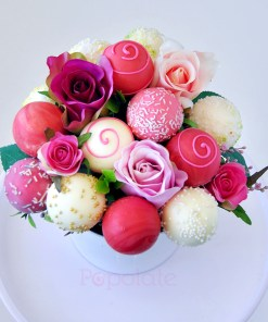 Rose bouquet cake pop set