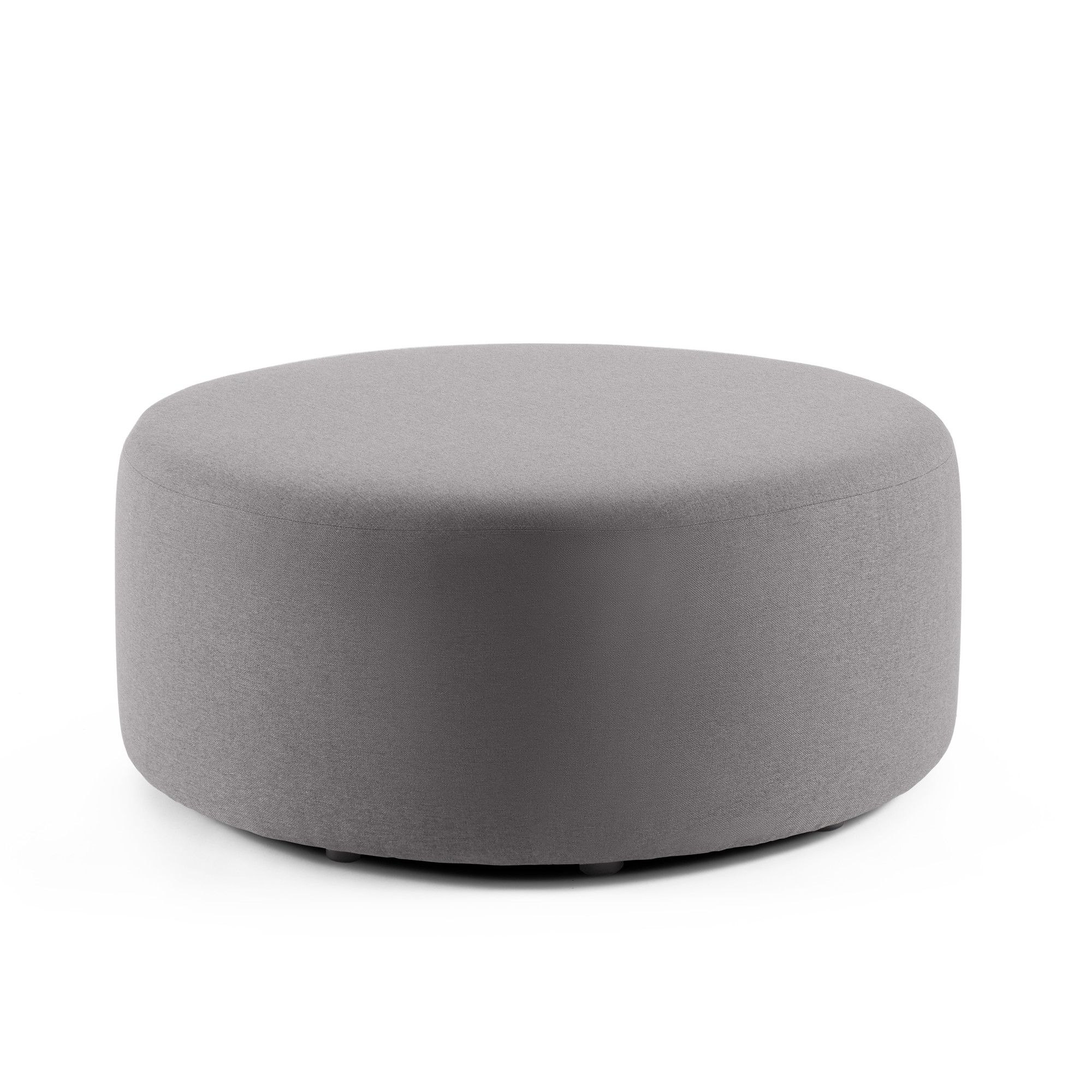 gray block party lounge round ottoman 40 office furniture poppin