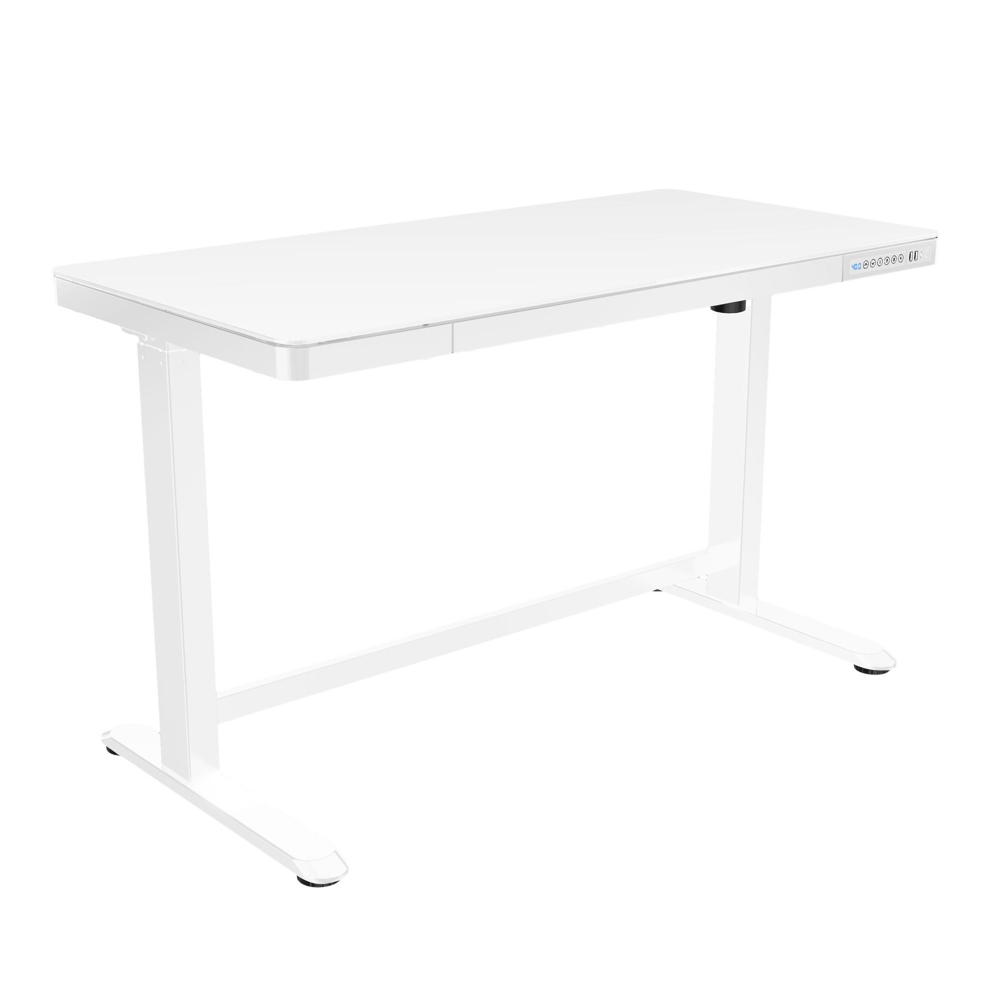 White Home Office Adjustable Height Desk Poppin