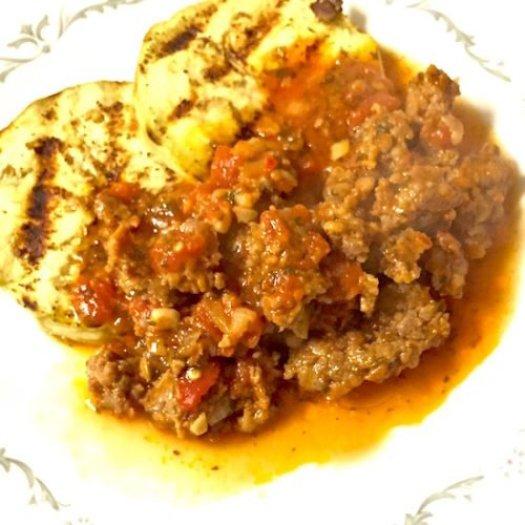 Italian Sausage Tomato Sauce on Grilled Eggplant poppopcooks.com