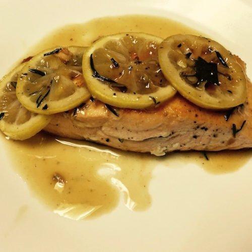 Sautéed Salmon Filets with a Lemon Rosemary Sauce poppopcooks.com