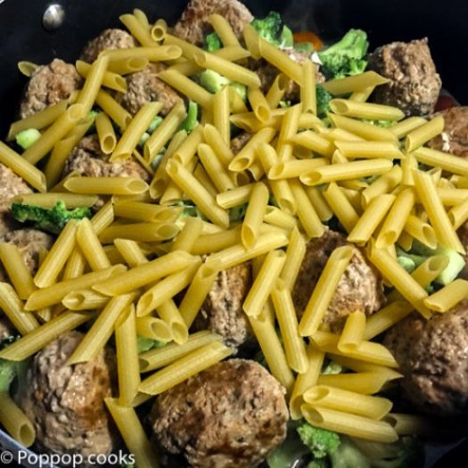 One Pan Meatballs and Pasta-2-poppopcooks.com
