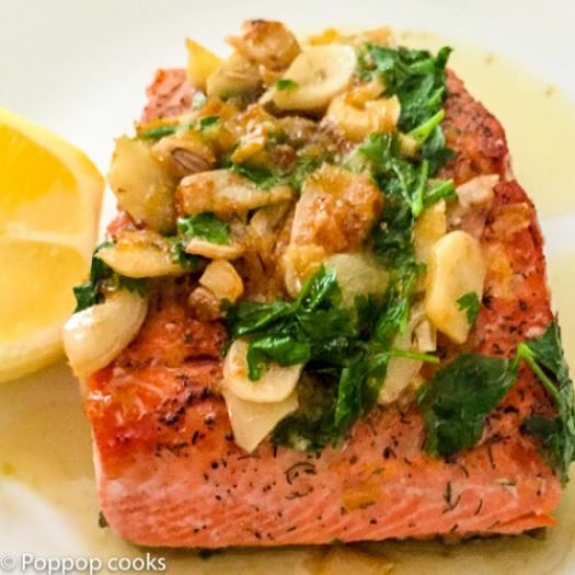 Lemon Parsley Garlic Pan Seared Salmon-6-poppopcooks.com