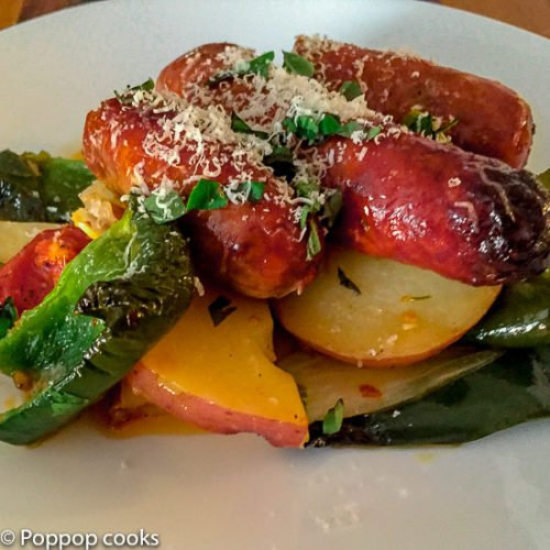 Oven Baked Sausage and Peppers-4-poppopcooks.com