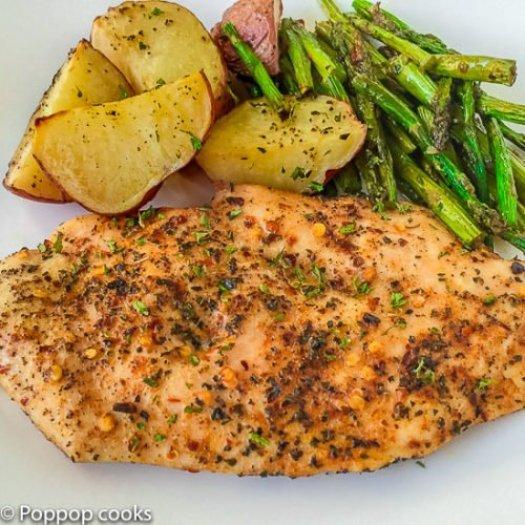 One Pan Oven Baked Chicken Dinner-4-poppopcooks.com