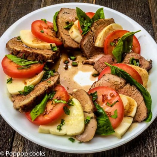 Pork Tenderloin Caprese Salad-4-poppopcooks.com