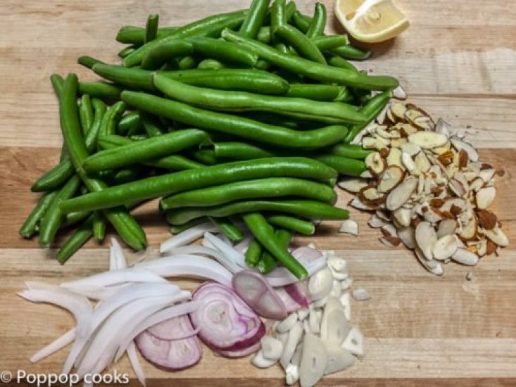 String Beans and Sliced Almonds-poppopcooks.com