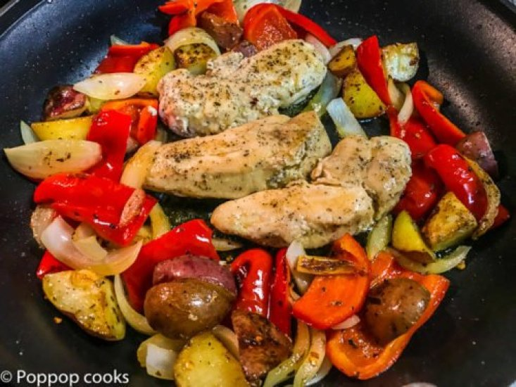 One Skillet Chicken Dinner-2-poppopcooks.com-one pan-one pot-quick and easy-gluten free