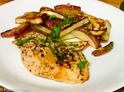Baked Chicken and French Fries-2-poppopcooks.com-chicken recipes-baked chicken recipes-easy chicken recipes-baked chicken breast-chicken breast recipes