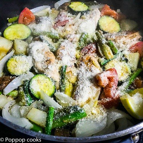 one pot chicken tendsr dinner-6-poppopcooks.com