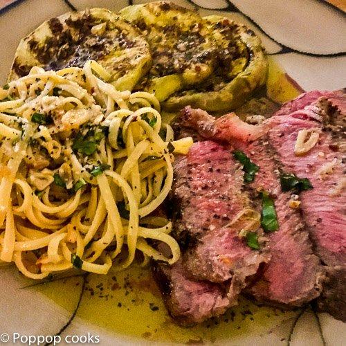Sliced Steak Aglio e Olio-3-poppopcooks.com-spaghetti aglio e olio-grilled steak