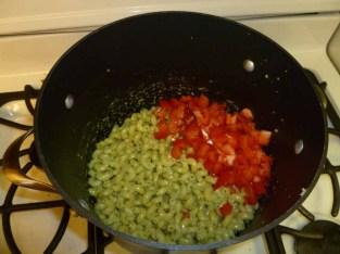 Tomatos added to pasta