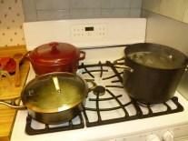 Three pots cooking