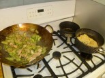 Stir-Fried Cucumber & Pork With Golden Garlic and Rice On Stove