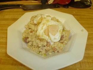 Bacon, Egg & Leek Risotto With Unbroken Egg