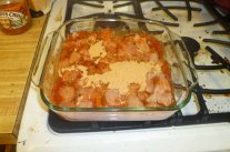 Chicken, Salsa & Taco Seasoning In Baking Dish