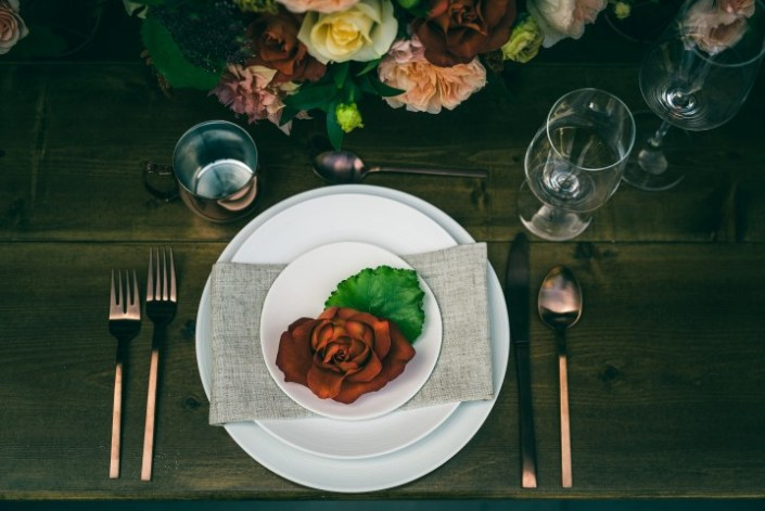 Table Setting with Flower Accent