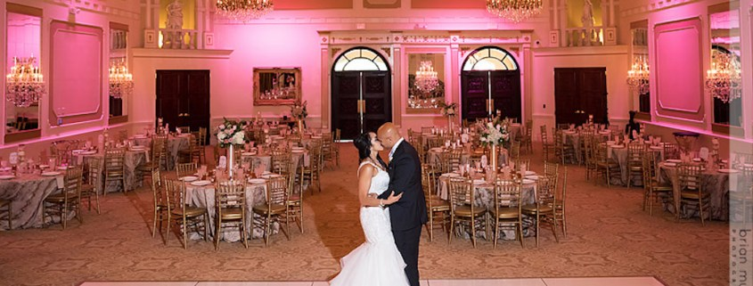 bride and groom portrait in wedding reception