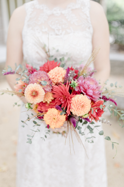 Fall bridal bouquet of local flowers like dahlias