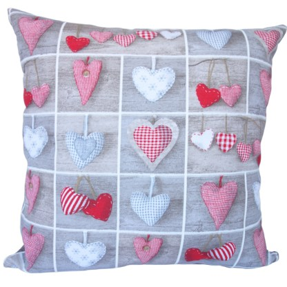 Hearts in Squares design Scatter Cushion, home decor gift