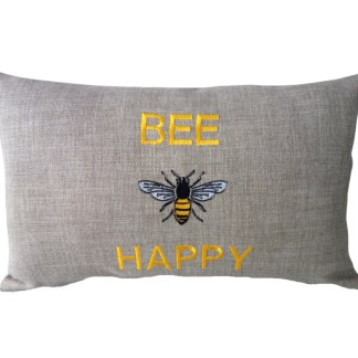 Bee Happy Embroidered Oblong Cushion