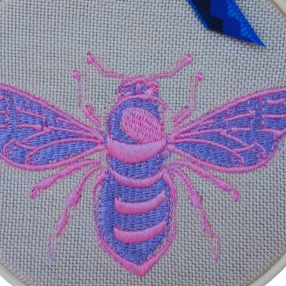 Purple Bee - Embroidery Hoop Art, unique wall hanging gift