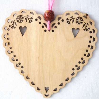 15cm Wooden Hanging Heart - Live Laugh Love, engraved gift