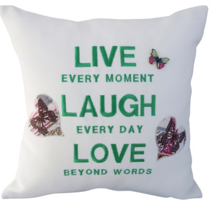 Live Laugh Love Embroidered Cushion