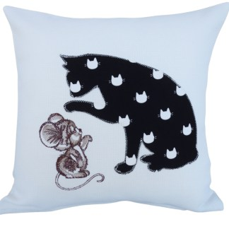 Cat & Mouse Embroidered Cushion