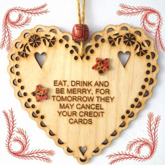 Wooden Hanging Heart Be Merry