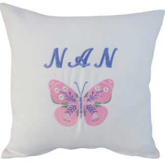 Nan & Butterfly Embroidered Cushion