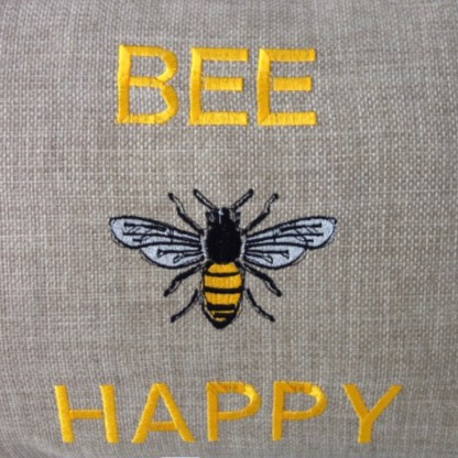 Bee Happy Embroidered Oblong Cushion - unique home gift