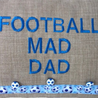 Football Mad Dad Embroidered Cushion - unique dad gift