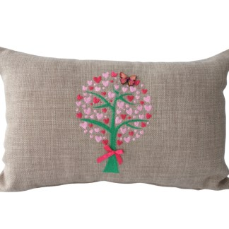 Heart Tree Embroidered Oblong Cushion