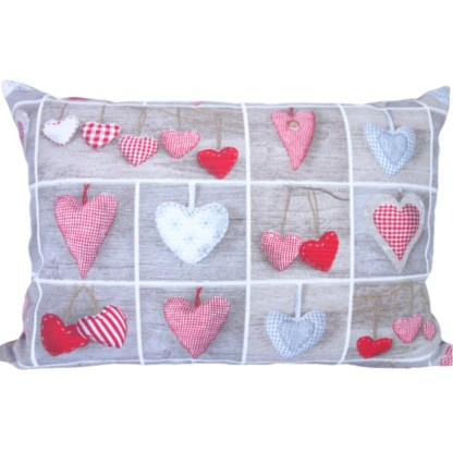 Hearts In Squares Oblong Scatter Cushion, home decor gift