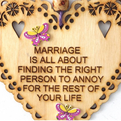 15cm Wooden Hanging Heart - Marriage, engraved gift