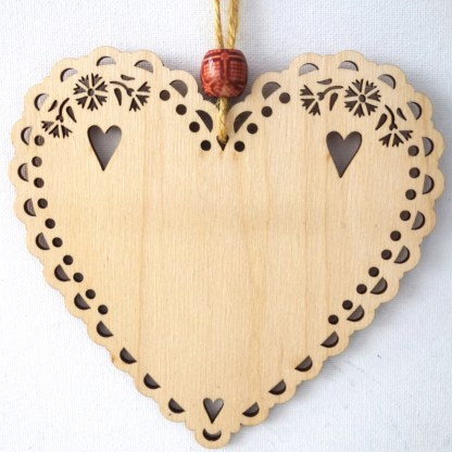 15cm Wooden Hanging Heart - Be Merry, engraved gift