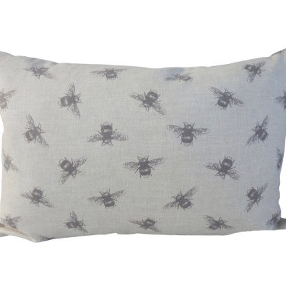 Rose & Bee Embroidered Oblong Cushion - unique home gift