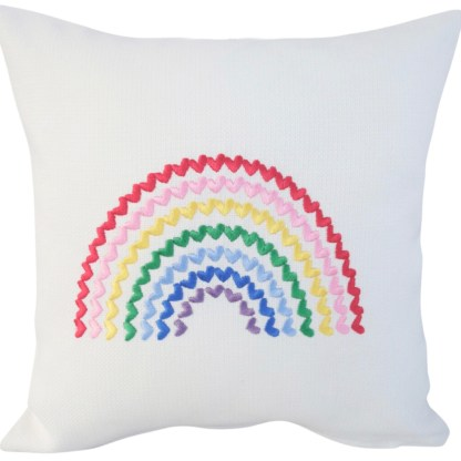 Rainbow of Hearts Embroidered Cushion