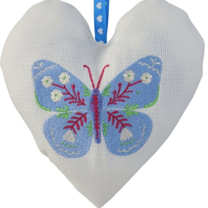 Padded Hanging Heart Blue Butterfly