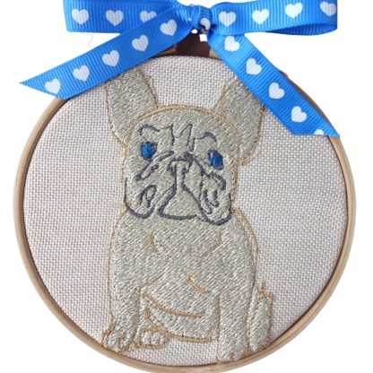 Embroidery Hoop Art - French Bulldog small gift