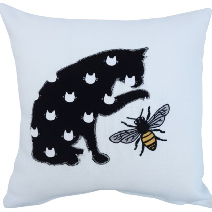 Cat & Bee Embroidered Cushion